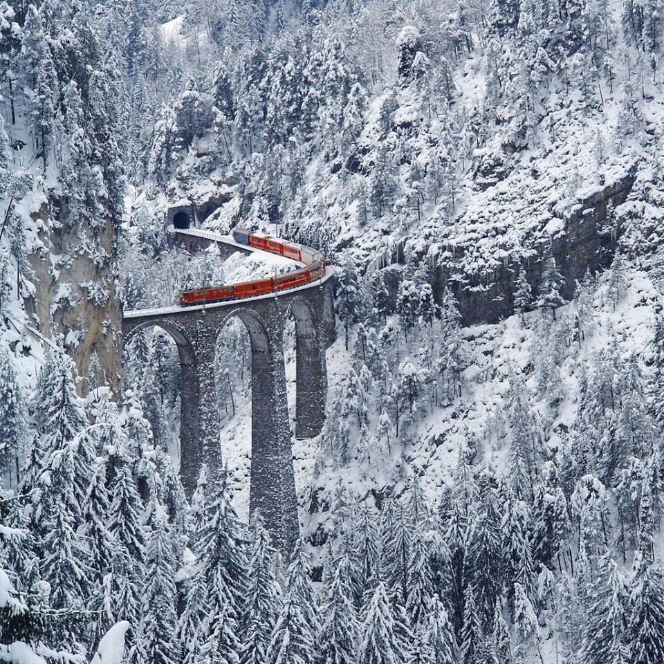 Winter train, Switzerland