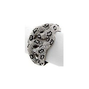 "Cheetah Swarovski Crystal & Rhinestone Hinged Bangle 1 3/4"" Wide by Jersey Bling"
