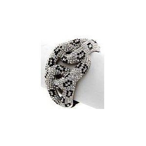 "Cheetah Swarovski Crystal & Rhinestone Hinged Bangle 1 3/4"" Wide by Jersey Bling"