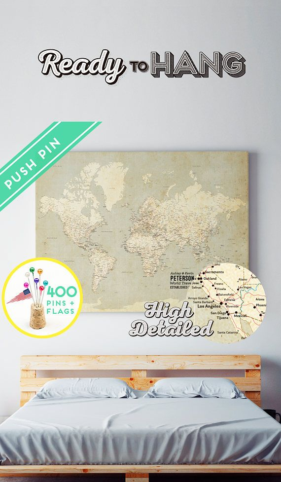 Custom world map push pin canvas vintage high detailed ready to custom world map push pin canvas vintage high detailed ready to hang 240 pins 198 gumiabroncs Gallery