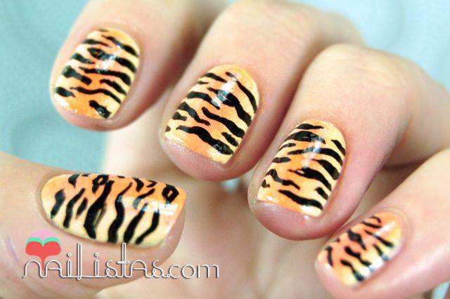 Uñas Decoradas Con Estampado De Tigre Nails Uña Decoradas Uñas
