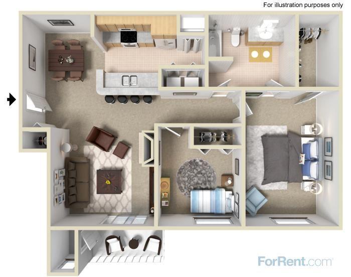Two Bedroom Apartment | Apartment floor plan, Two bedroom ...