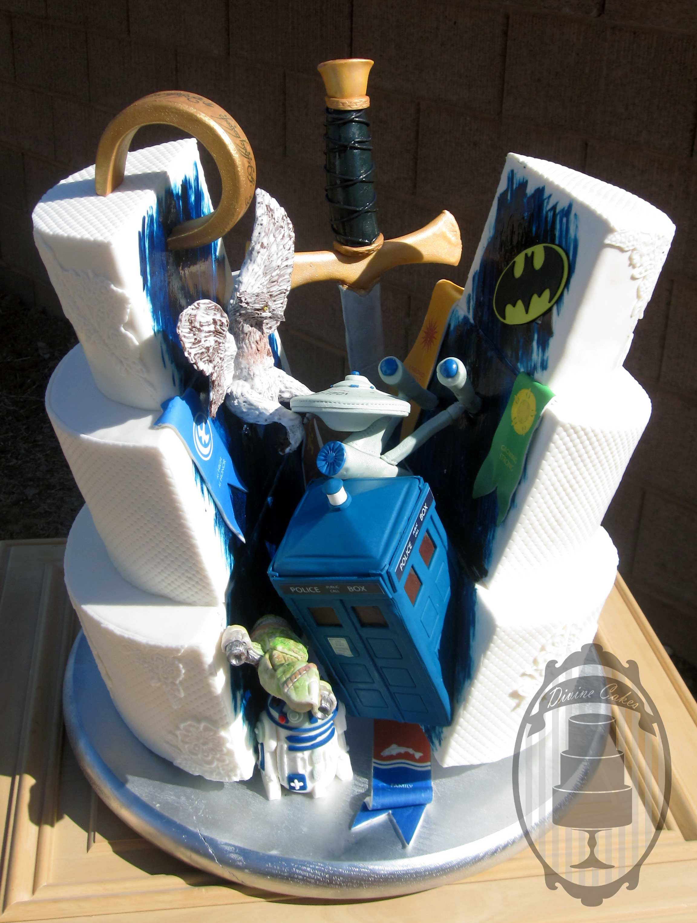 Nerdy wedding cake with tardis one ring games of thrones r2d2