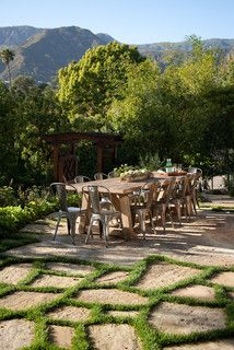 Outdoor dining room with seating for 12.