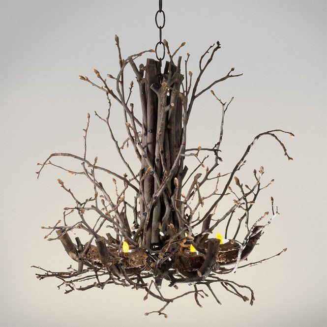 Handmade Twig Tealight Votive Chandelier Tea Lights Twig Chandelier Twig Lights