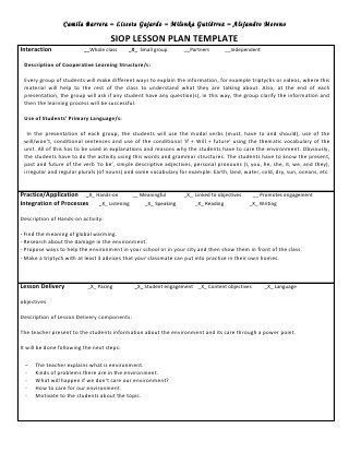 Siop Lesson Plan Templat Siop Unit Lesson Plan Template Sei Model