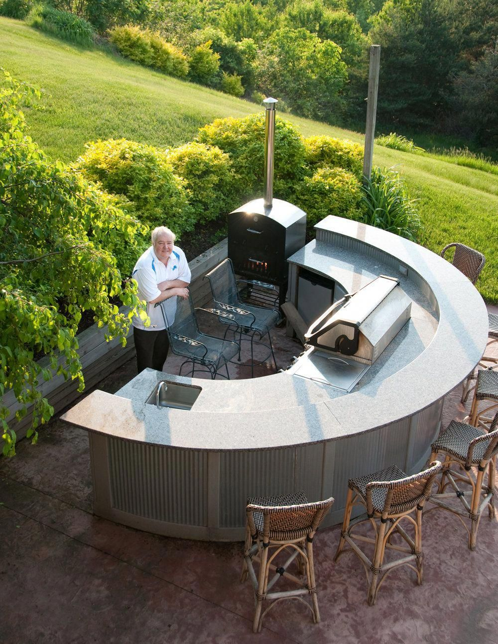 Curved kitchen island with sink outdoor kitchens a growing trend