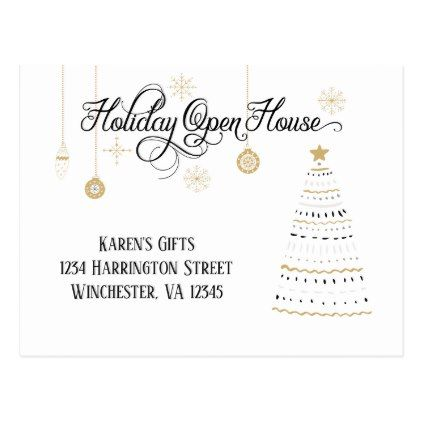 Black and Gold Stylized Holiday Open House | Postcard - christmas cards merry xmas diy cyo greetings