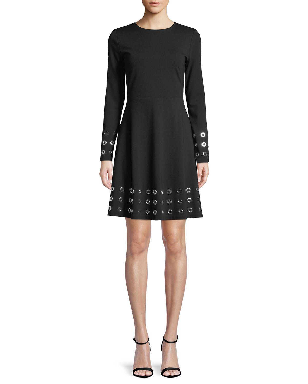 Michael Michael Kors Grommet Trim Flare Dress Flare Dress