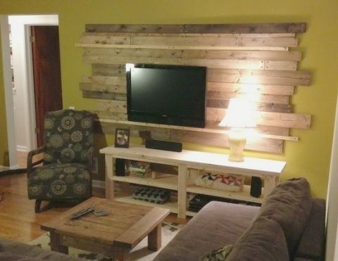 Living Room Tv Wood Planked Pallet Accent Wall