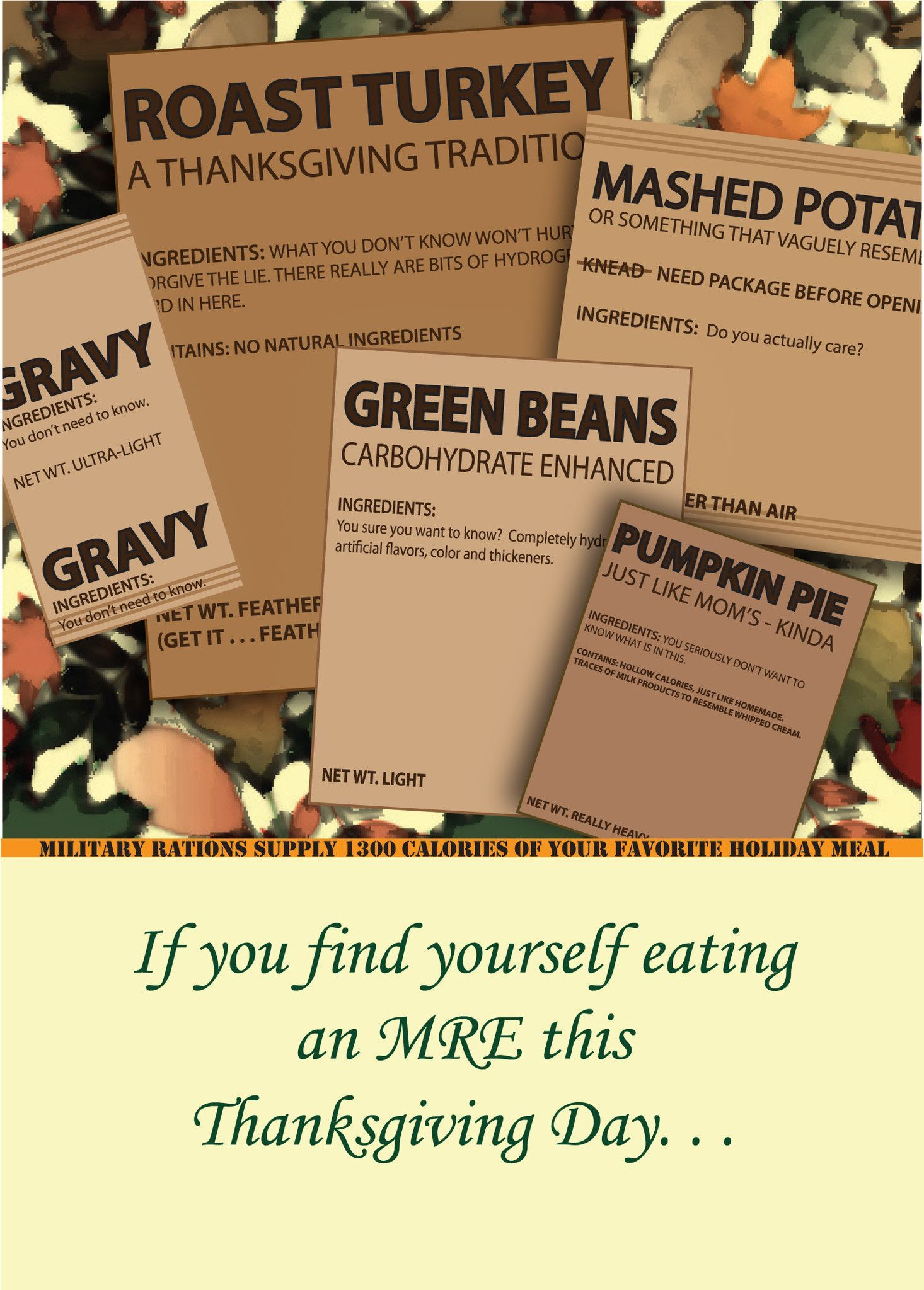 Thanksgiving Military Greeting Card Mre Thanks Products