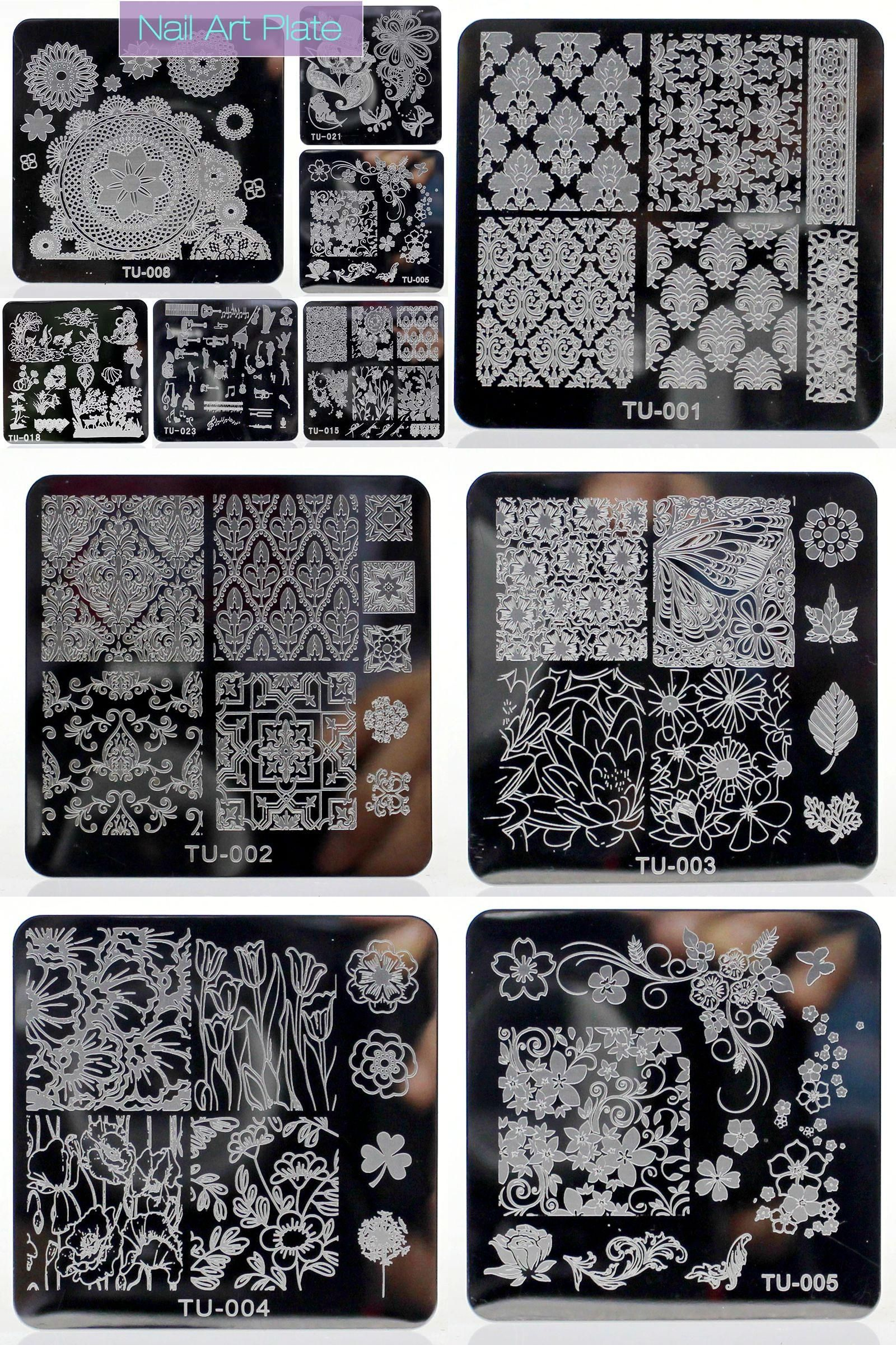Visit to buy new nail stamping plates square stainless steel nail