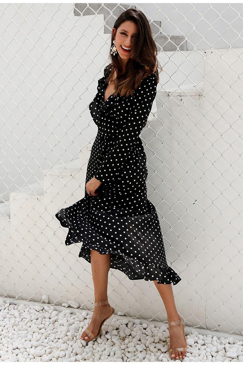 Black polka dot split long sleeve ruffle wrap long dress amazing