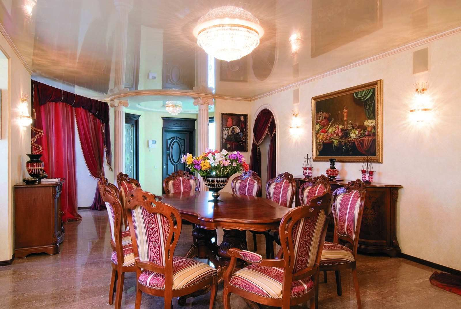Sharp Royal Look Dining Room Decorations With Pink Furniture