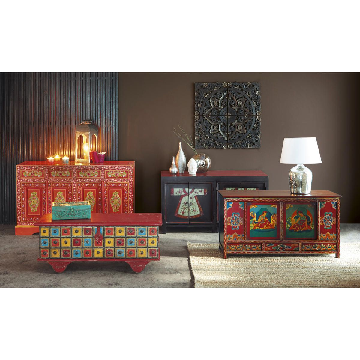 coffre indien en manguier multicolore l 115 cm gipsy. Black Bedroom Furniture Sets. Home Design Ideas