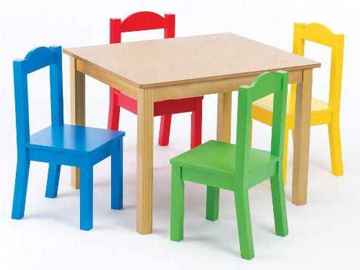 Amazon Com Tot Tutors Kids Table And 4 Chair Set Primary Wood