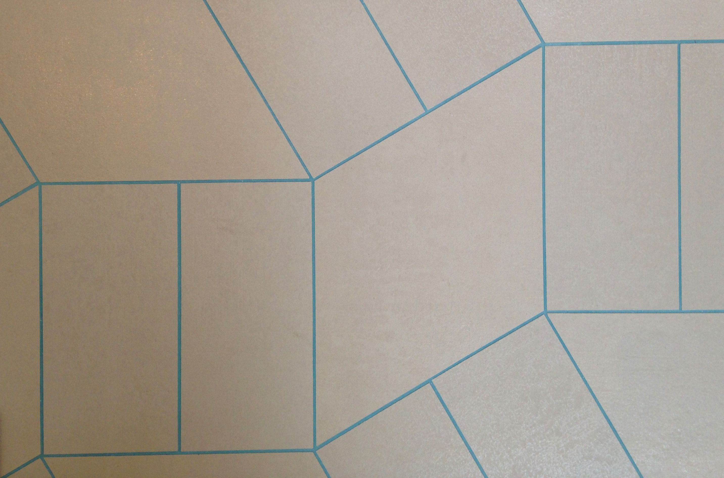 Turquoise grout with grey concrete effect tiles! 'Play One