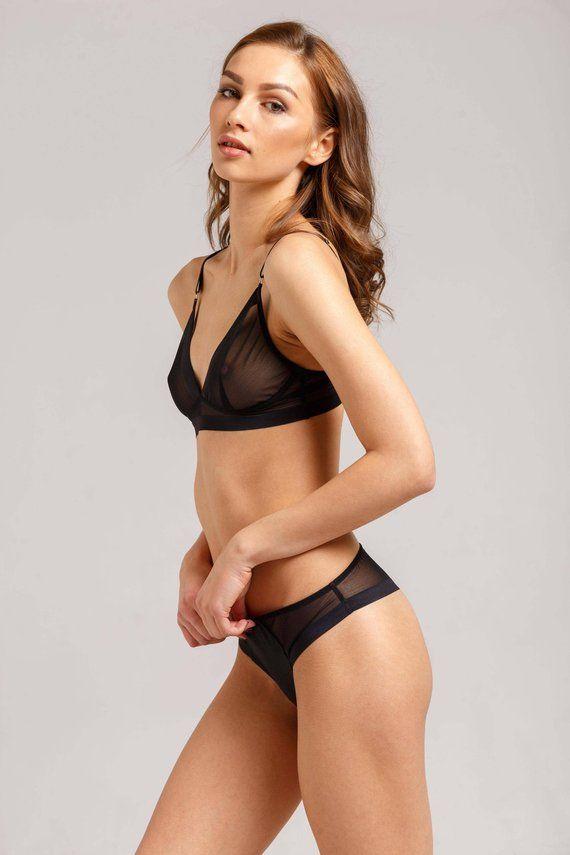 Black mesh lingerie - Black mesh bra - Black lingerie set - Black underwear  - Transparent bra - Mesh 7ed041dfb