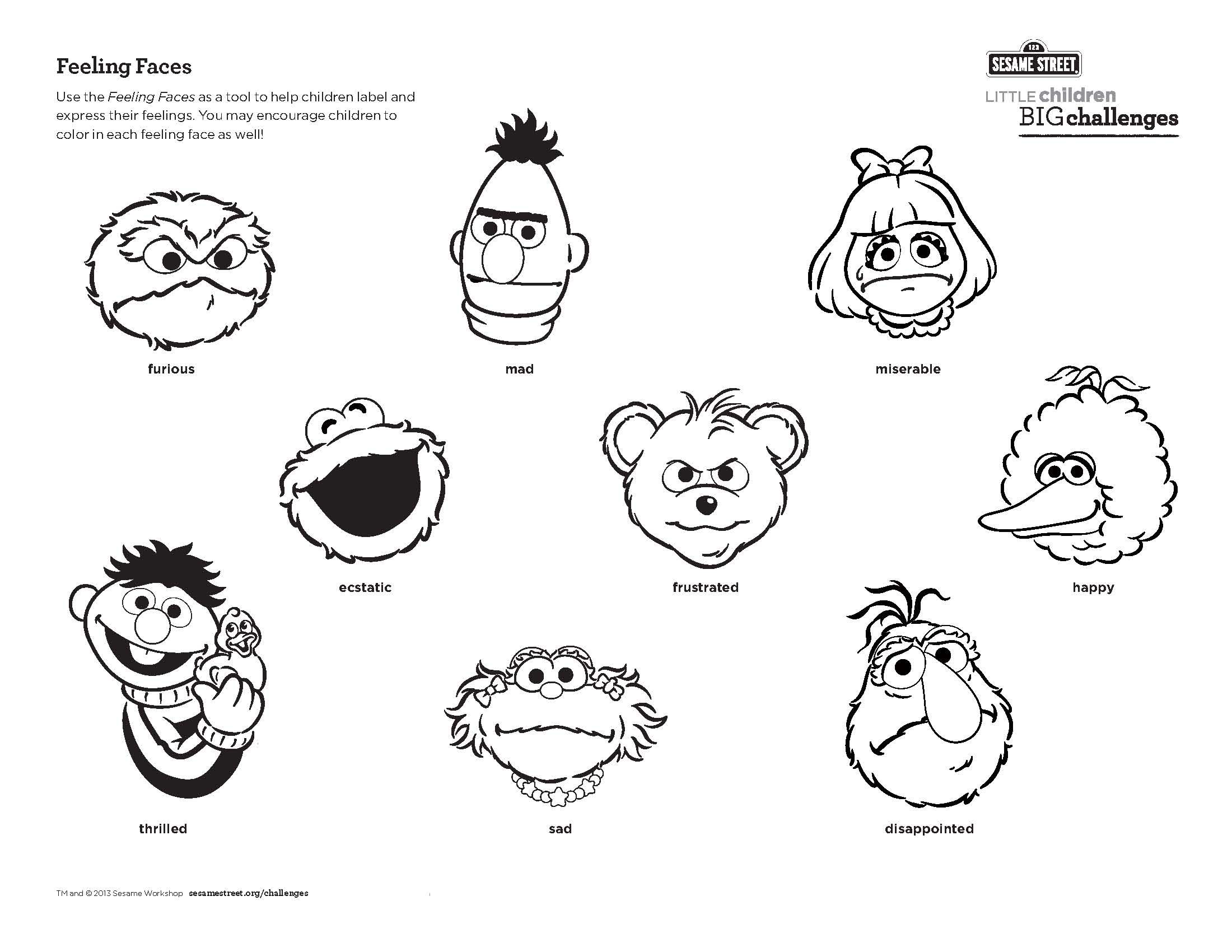 Use this Feeling Faces printable as a tool to help children label