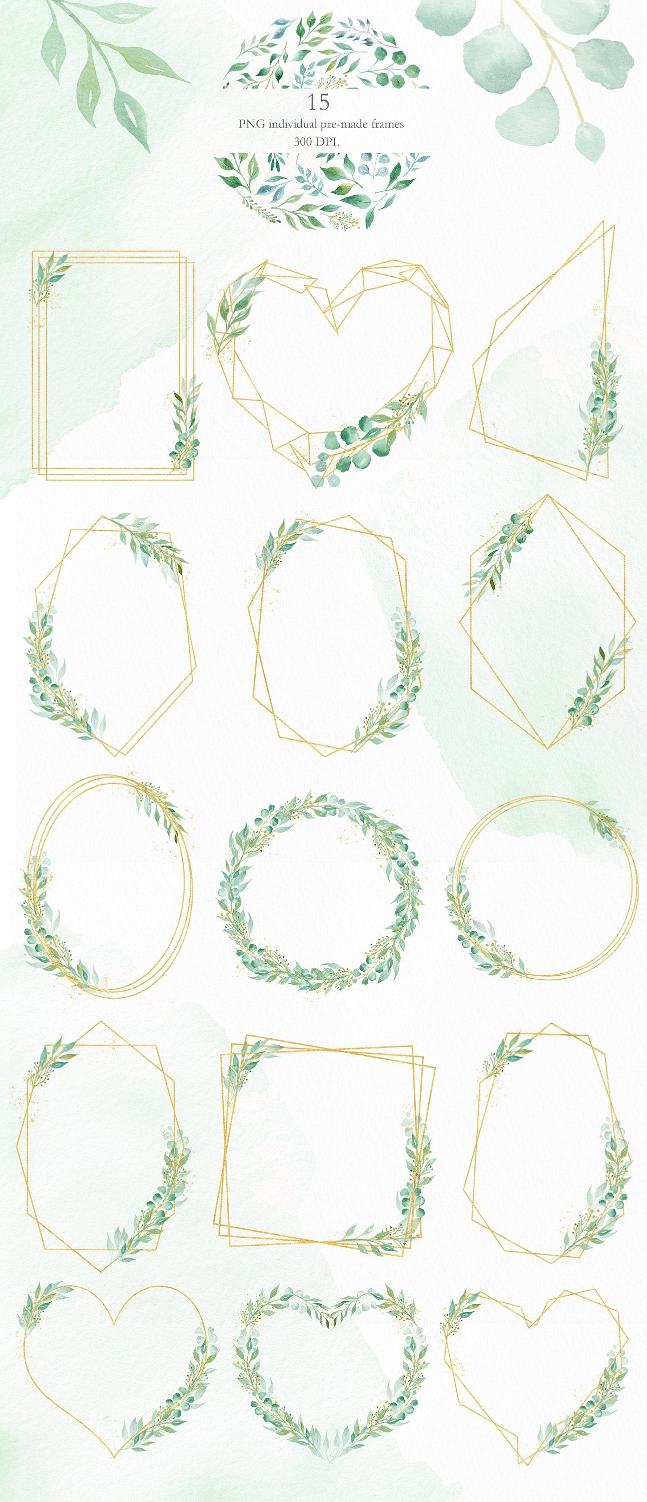 Greenery watercolor geometric clipart frame and wreath