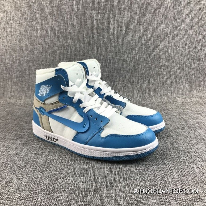 a4a9885f57a6 Off-White X Air Jordan 1 Unc White University Blue Copuon