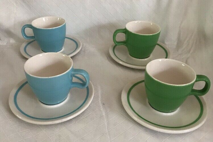 2004 STARBUCKS At Home Collection Green Blue White Coffee Espresso Cup Demitasse