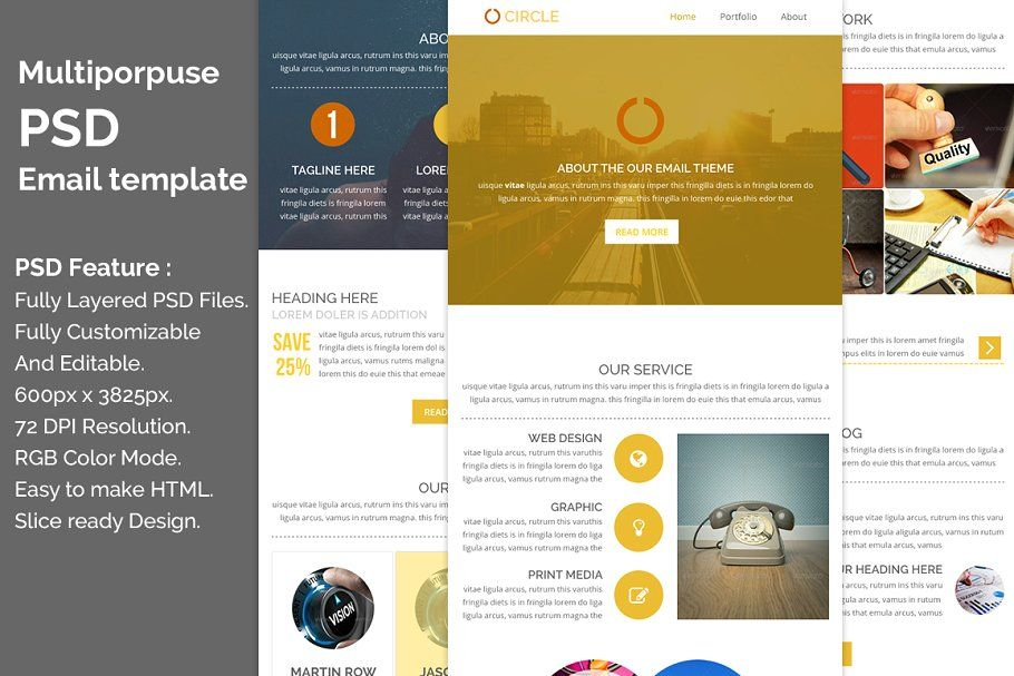 Multiporpuse Psd Email Template E6 Creative Email Templates Email Templates Email Template Design