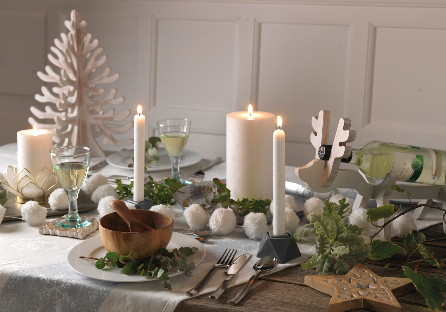 Get Your White Christmas Table Looking The Part Christmas Decorations Christmas White Christmas