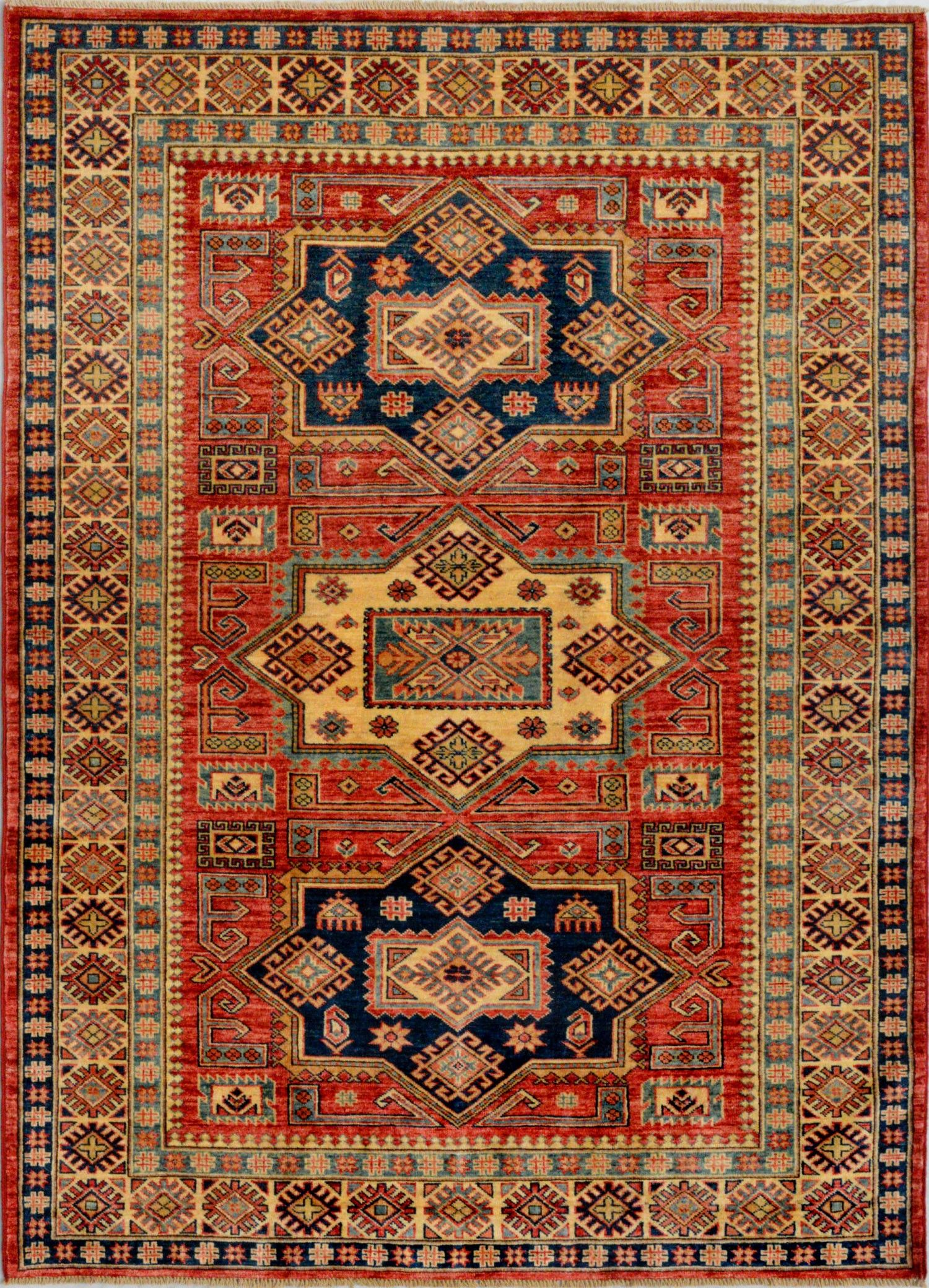 Handmade Afghan Rust Oriental Kazak Rug 4 11 X 6 10