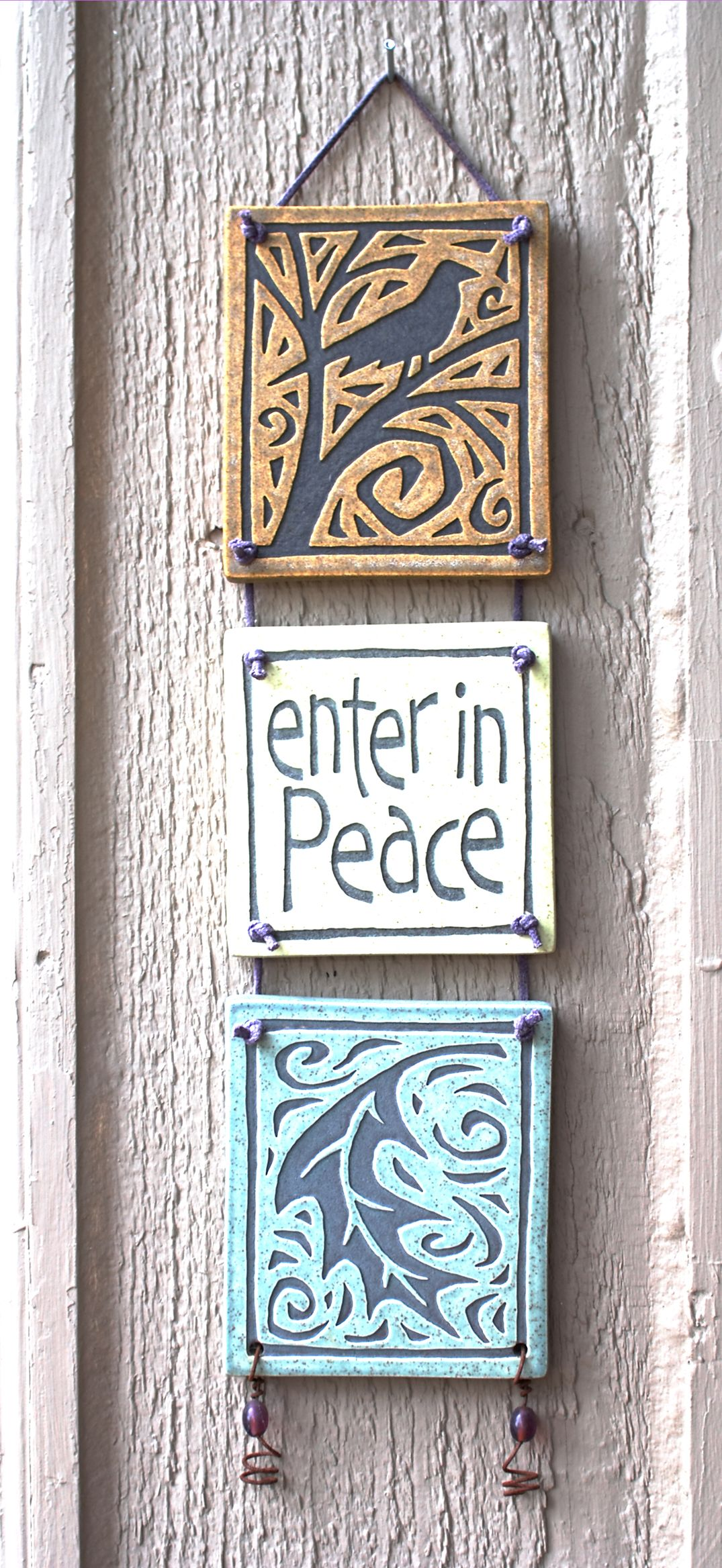 Good idea to hang house numbers too slab pottery pinterest ceramic hanging with 3 tiles nice for house numbers dailygadgetfo Choice Image