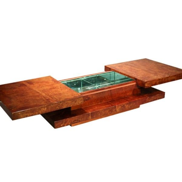 Mirrored Coffee Table Bar 70 39 S Style In Parchment Goatskin