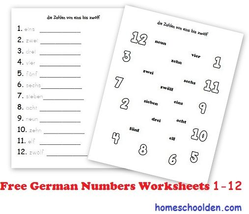 German-Numbers-1-to-12-Zahlen Homeschool - Germany Pinterest - resume for kids