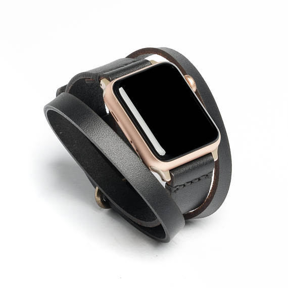 a8e2628c2 Triple Tour™ Full Grain Leather Apple Watch Band - Black | Wickett & Craig®  | Made in USA