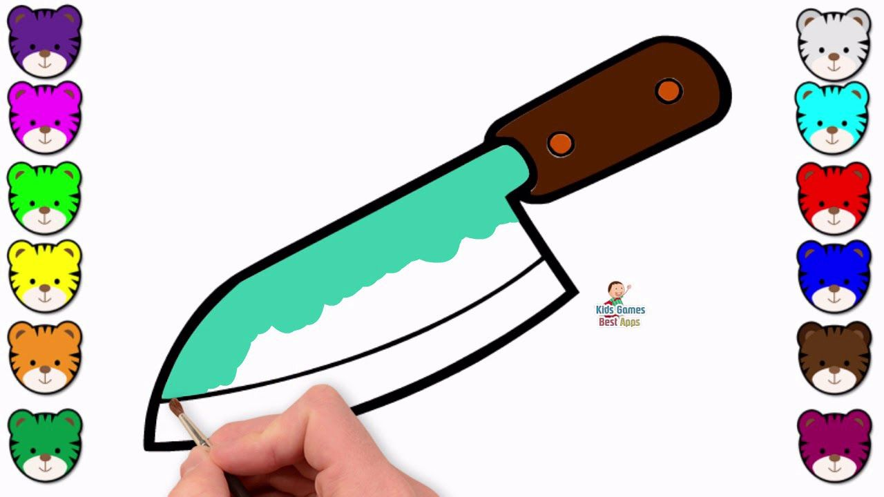 Sharp Knife Drawing Coloring Page Learn To Color For Kids Coloring For Kids Knife Drawing Coloring Books