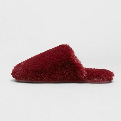 d835a8560cdb7 Women's Khloe Faux Fur Scuff - Xhilaration Burgundy XL(11/12), Night  Burgundy