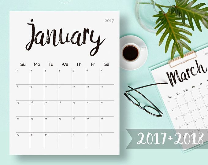 Printable Calendar  Wall Calendar Pages Watercolor Monthly