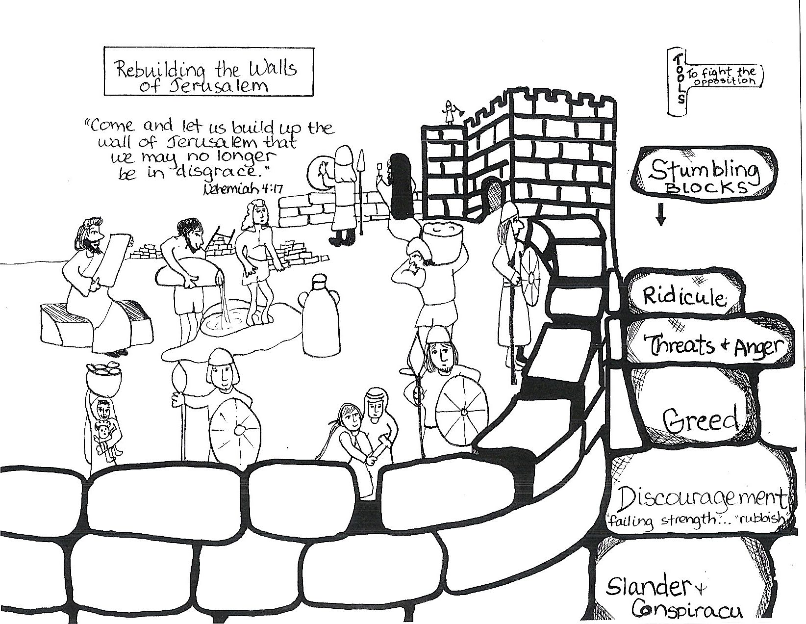 Free coloring pages nehemiah rebuilding wall - Auntie S Bible Lessons Nehemiah Rebuilding Walls Check For Bible Accuracy Please Create A Crossword Puzzle Coloring Page