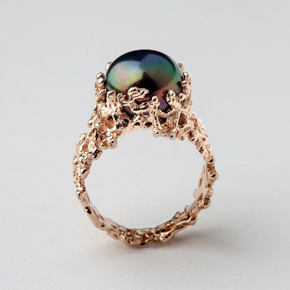CORAL Black Pearl Ring Unique Rose Gold Engagement Ring By