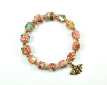 NEW bead shape - Garden Party Floral PAPER BEAD Bracelet - shipping included