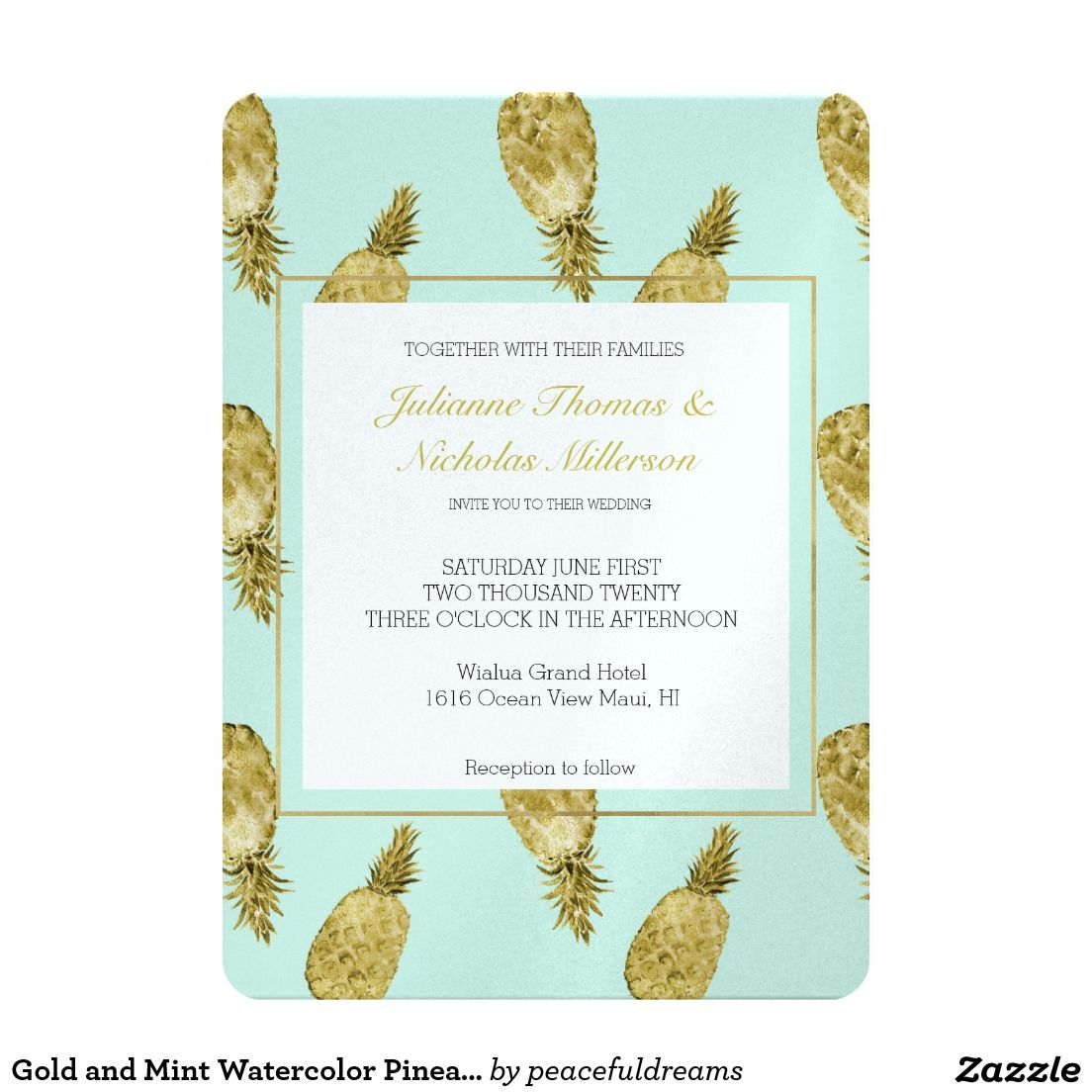 Gold and Mint Watercolor Pineapples Wedding invitations
