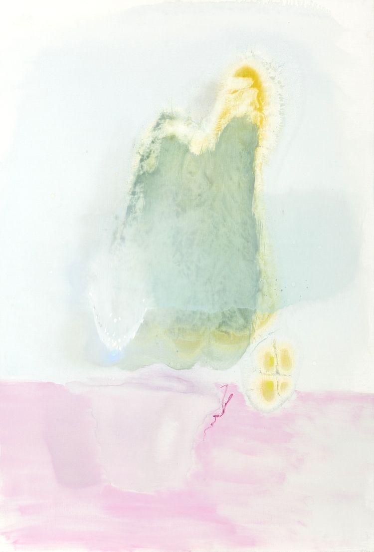 """""""Pink Pot Blue Cacti"""" Kishkaa artist: melissa mladin lowgren 76 x 122cm / oil on linen"""