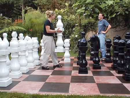 Giant Chess Board In Your Back Yard How Cool Would That Be Large Chess Set Giant Chess Diy Chess Set