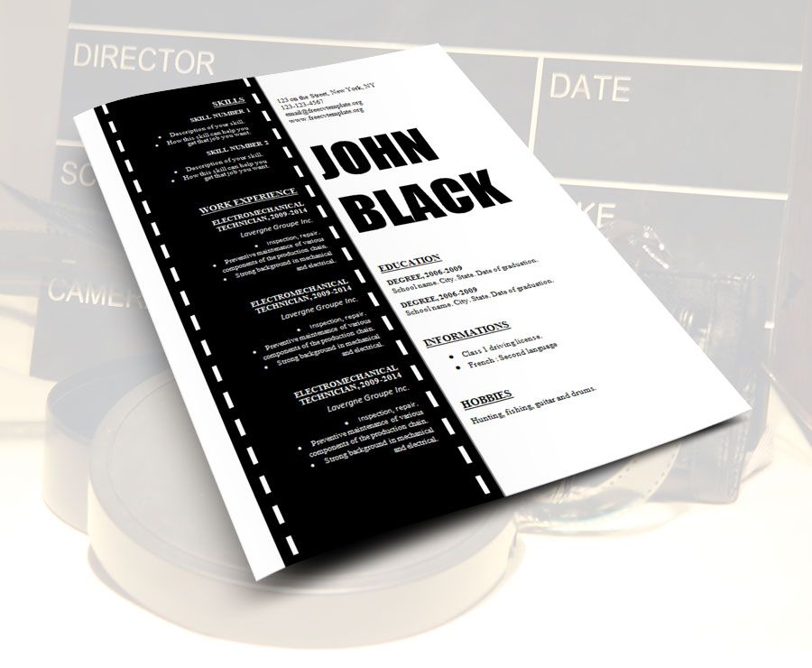 Unique Resume Templates Custom Design_Resume_Template_For_Cinema_Film_Movies_Technician_On_Film Decorating Design