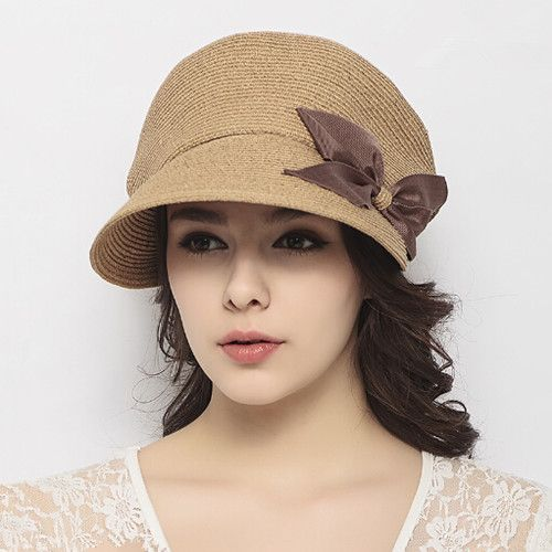 db77167b119 Fashion bow straw flat cap for women package sun hats summer wear ...