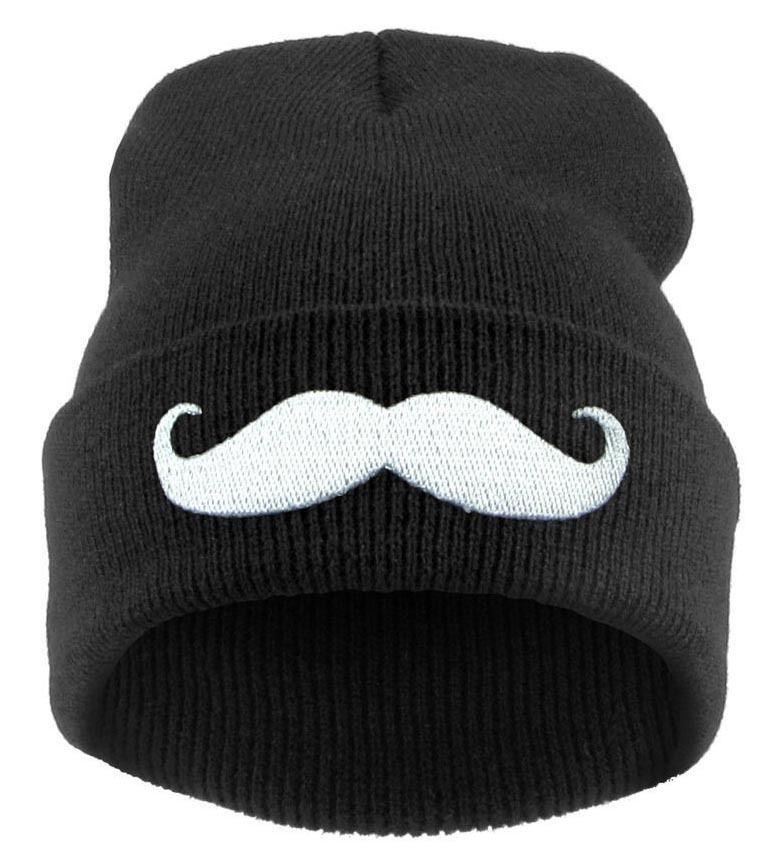 1467530c08388 Encontrar Más Gorros de Lana Información acerca de Invierno sombrero bigote  hombres   mujeres de acrílico de lana gorros de punto gorros Hip hop para  para ...