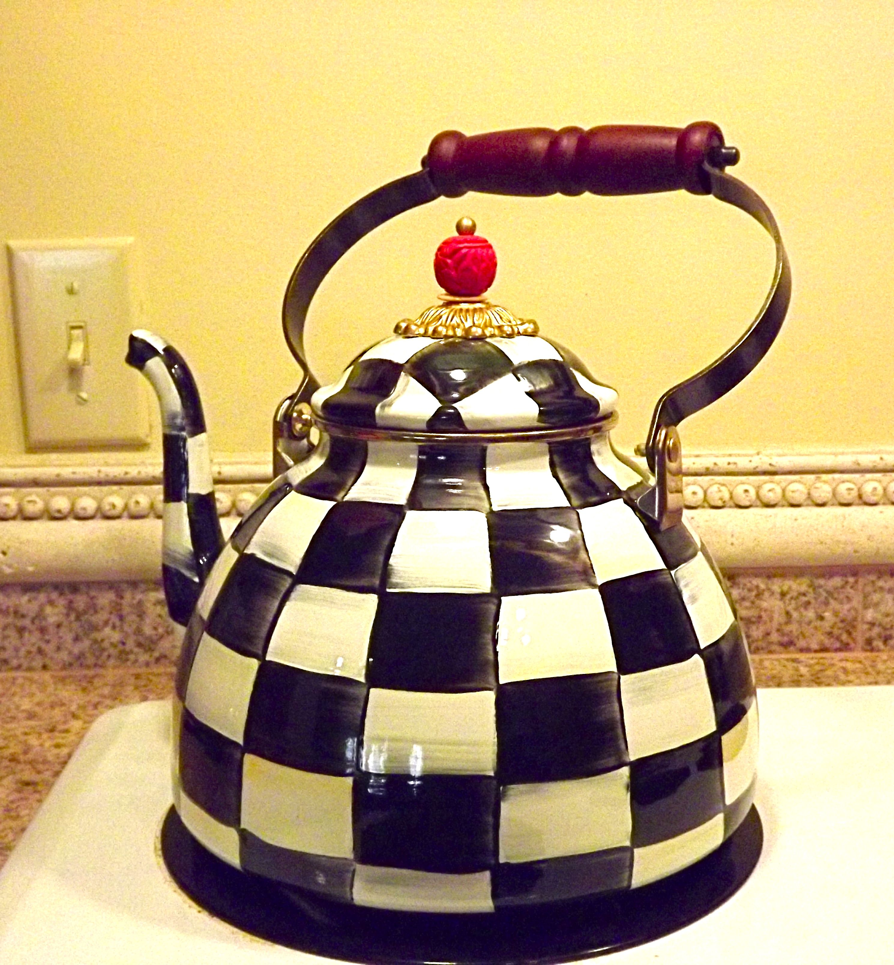 Christmas present from our adopted daughter, a MacKenzie - Childs tea kettle....