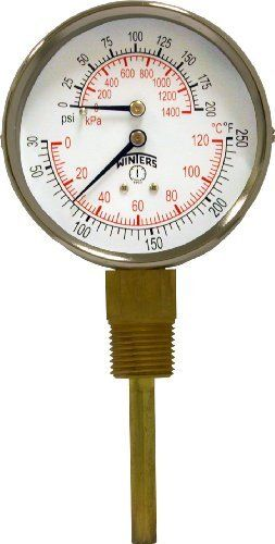 """Winters TTD Series Steel Dual Scale Tridicator Thermometer with 2"""" Stem, 0-200psi/kpa, 3"""" Dial Display, ±3-2-3% Accuracy, 1/2"""" NPT Bottom Mount, 30 Degrees F to 250 Degrees F by Winters. $30.55. Measures both pressure and temperature on the same dial. Dual scale. Bottom connection. Brass wetted parts. 2"""" Stems. Multiple pressure and temperature ranges available. Ranges are compliant to industry standard ASME boiler code section IV HG-612. 1 Year warranty. Hot w..."""