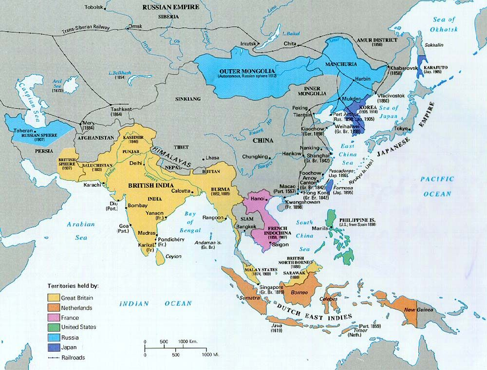 Map Of Asia 1930.Asian Colonies Before 1930 World History Hsfm Asia Map Map