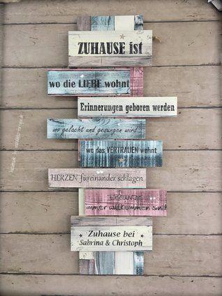 Zuhause ist wo die Liebe wohnt (auf 8 Brettern mit Namen der Familienmitglieder)