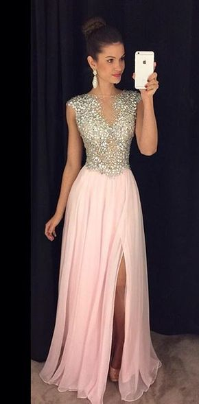 luxurious 2017 long pink prom dress with side slit, formal evening ...